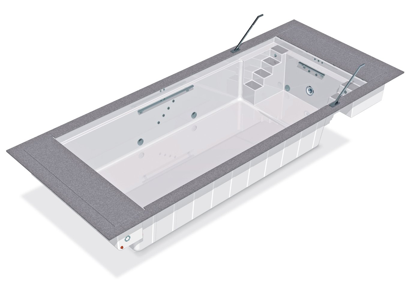 Composite pool with 4 steps on both sides